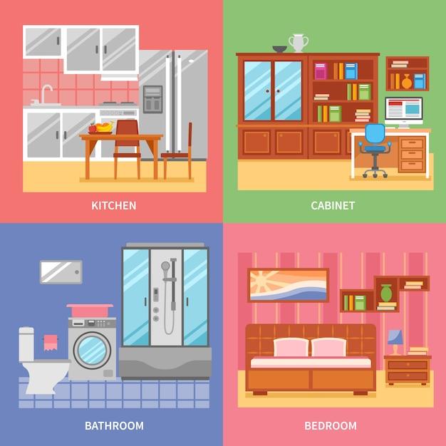 Set da camera interno Vettore gratuito