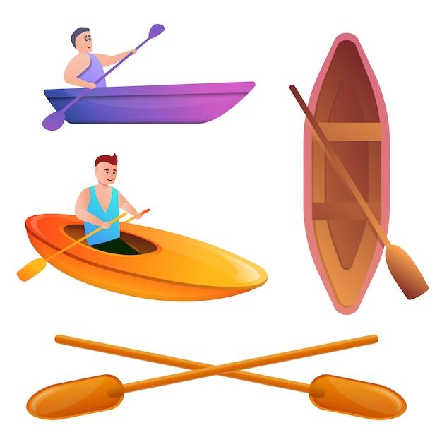 Set da canoa, in stile cartone animato Vettore Premium