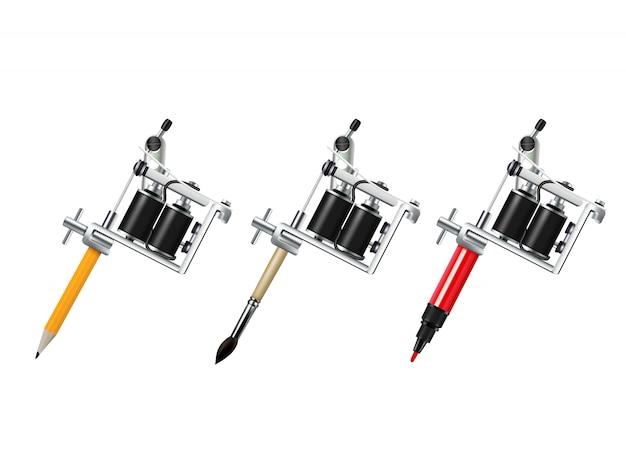 Set da disegno per macchine da tatuaggio Vettore gratuito