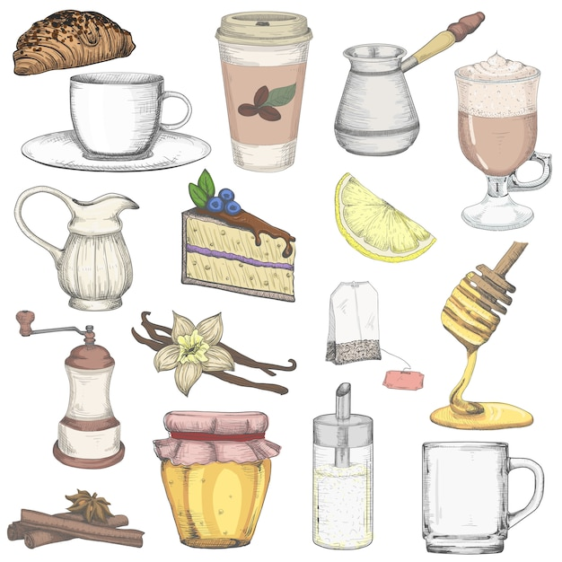 Set da tè e caffè Vettore Premium
