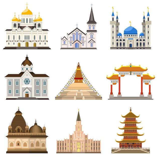 Set da tempio, stile piatto Vettore Premium