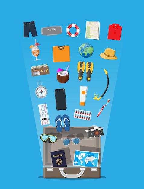 Set da viaggio grande. vacanze estive, turismo, vacanze Vettore Premium