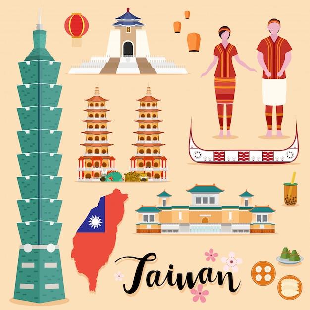 Set da viaggio turistico di taiwan Vettore Premium