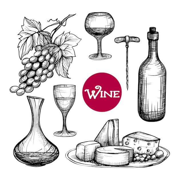 Set da vino disegnato a mano Vettore gratuito