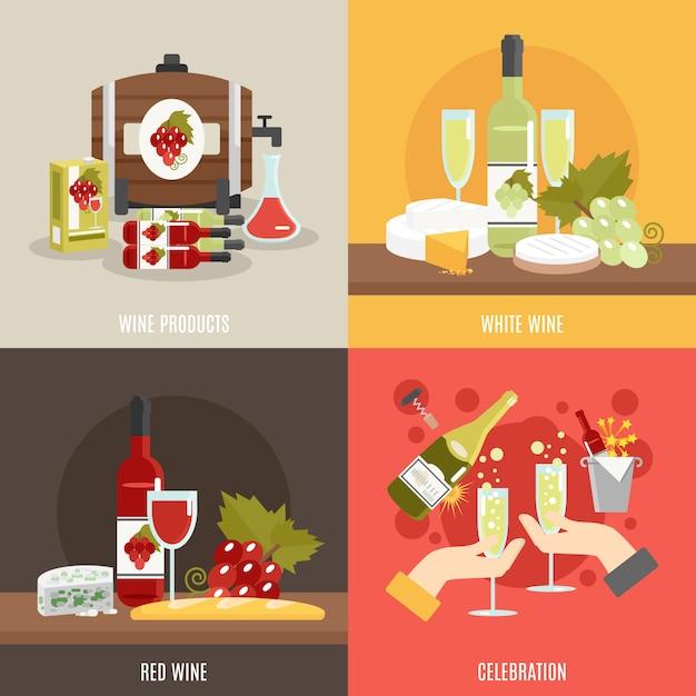 Set da vino Vettore gratuito