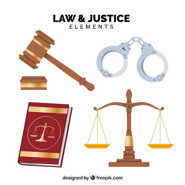 Set de elementos de derecho y justicia Vettore gratuito