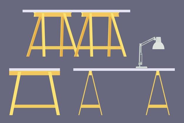 Set dei tavoli di lavoro Vettore Premium
