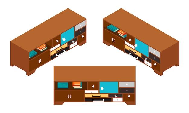 Set dei tavolini isometrici con tanti cassetti Vettore Premium