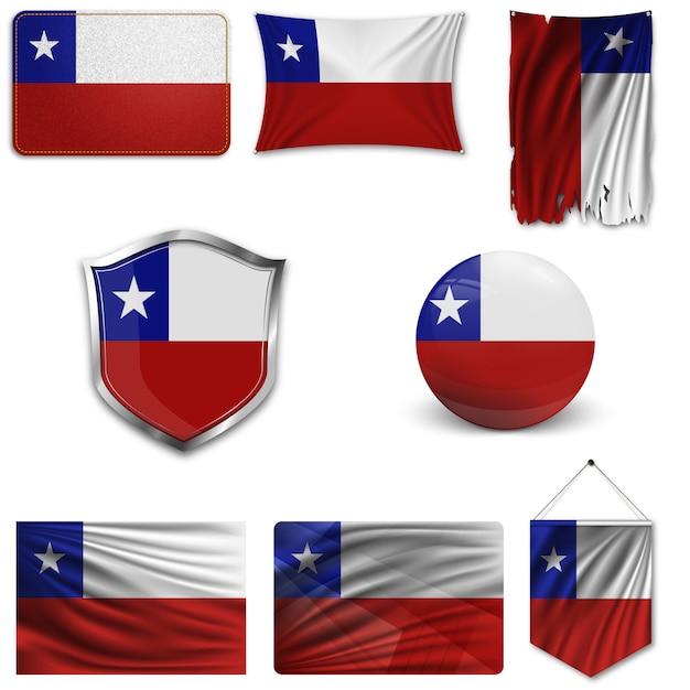 Set della bandiera nazionale del cile Vettore Premium