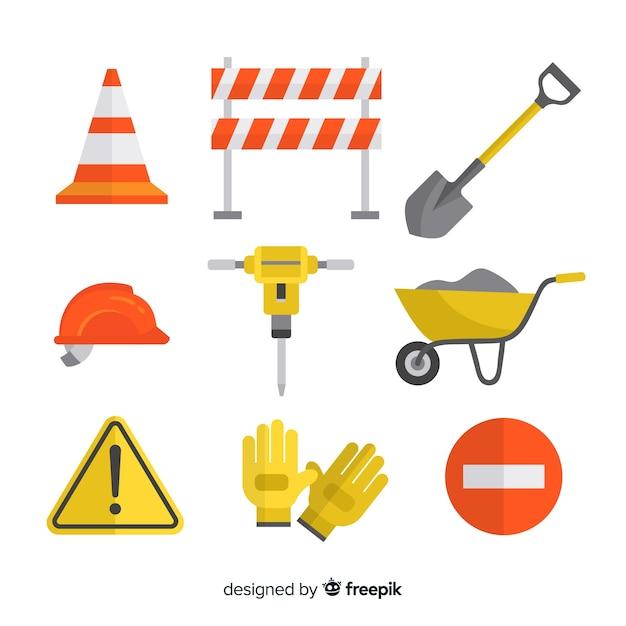 Set design piatto di strumenti di costruzione Vettore gratuito