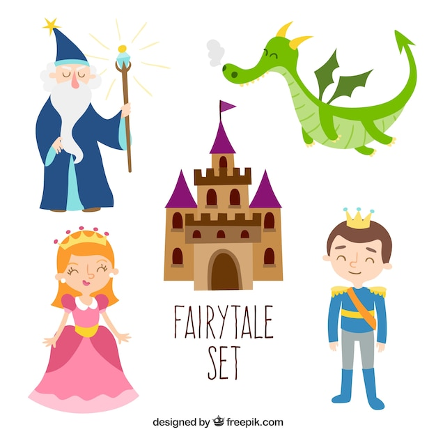 Set design piatto fairytale Vettore gratuito