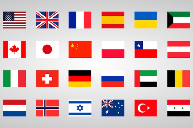 Set di 18 paesi con bandiere diverse Vettore Premium