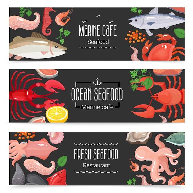 Set di 3 bandiere fresche di frutti di mare Vettore gratuito