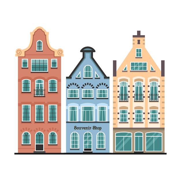 Set di 3 facciate di cartoni animati di vecchie case di amsterdam Vettore Premium
