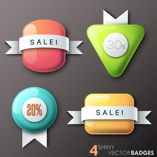 Set di 4 badge lucidi con forme di vetro e nastri di carta Vettore Premium