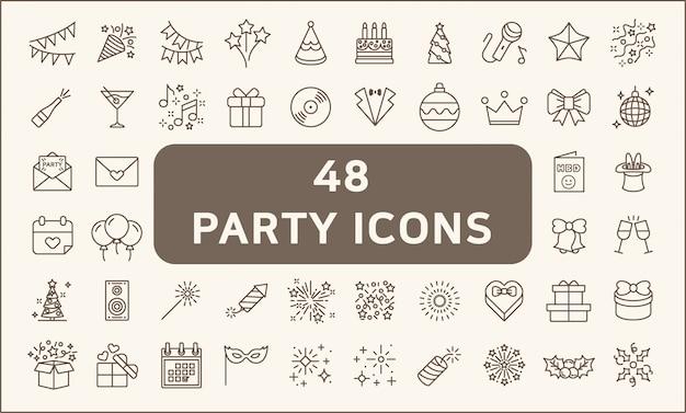 Set di 48 stile di linea icone festa e vacanze. incluse le icone come palloncini, compleanno, musica, fuochi d'artificio, regali, decorazioni e altro ancora. Vettore Premium