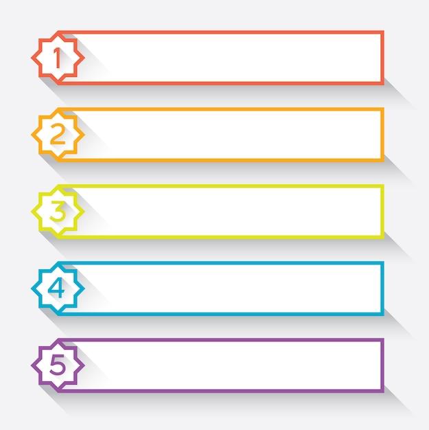 Set di 5 intestazioni numerate in stile carta con stella Vettore Premium