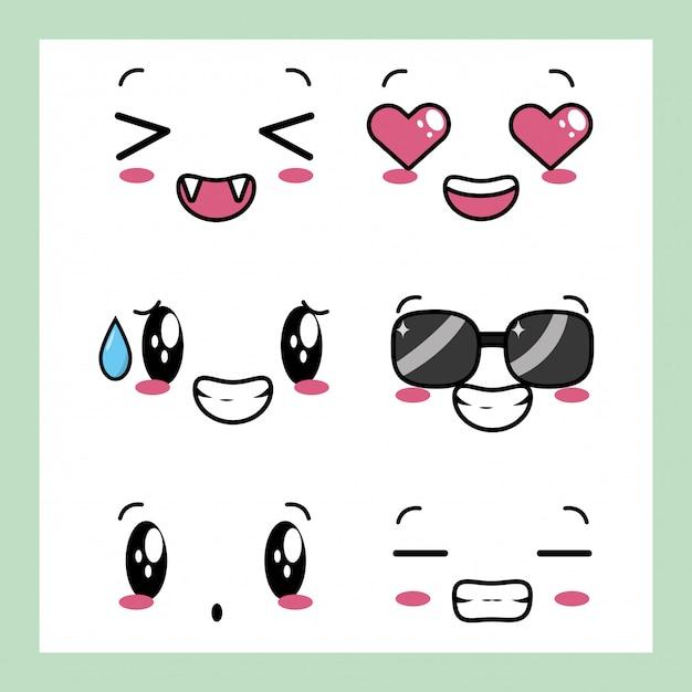 Set di 6 disegni di espressioni kawaii Vettore gratuito