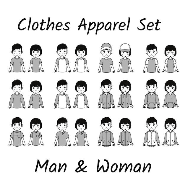 Set di abbigliamento carino Vettore Premium