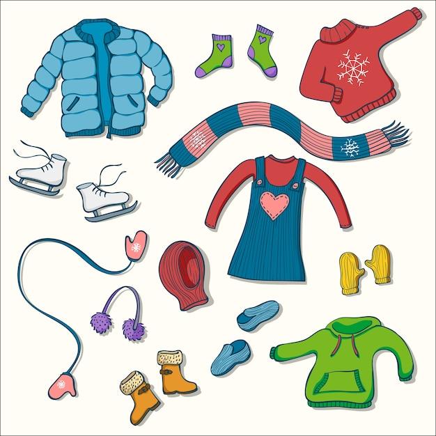 Set di abbigliamento invernale di illustrazioni vettoriali Vettore Premium