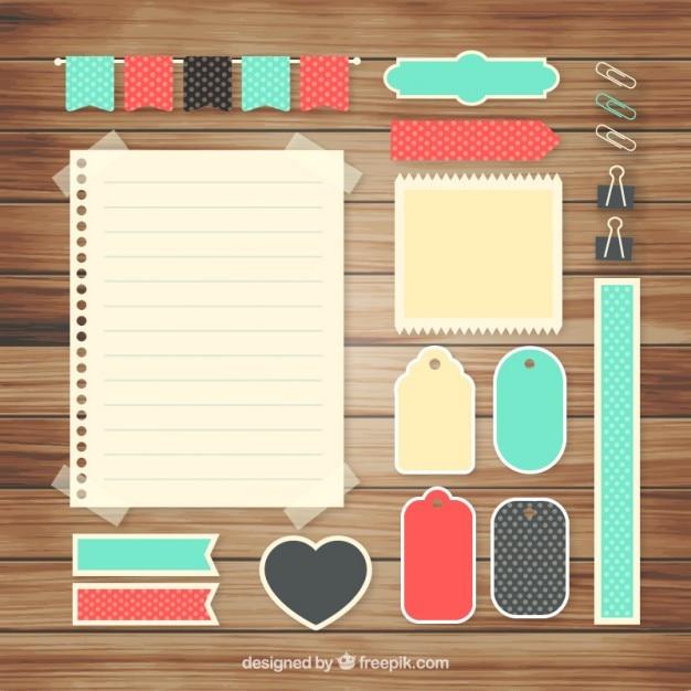 Set di accessori carini per scrapbooking Vettore gratuito