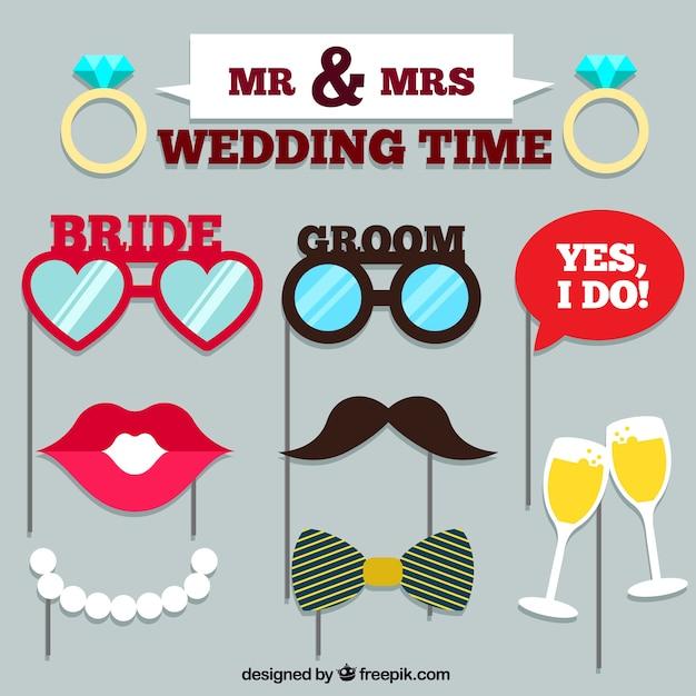 Set di accessori da sposa per la cabina fotografica Vettore gratuito