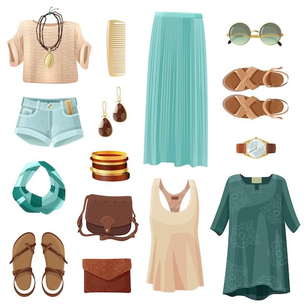 Set di accessori moda donna Vettore gratuito