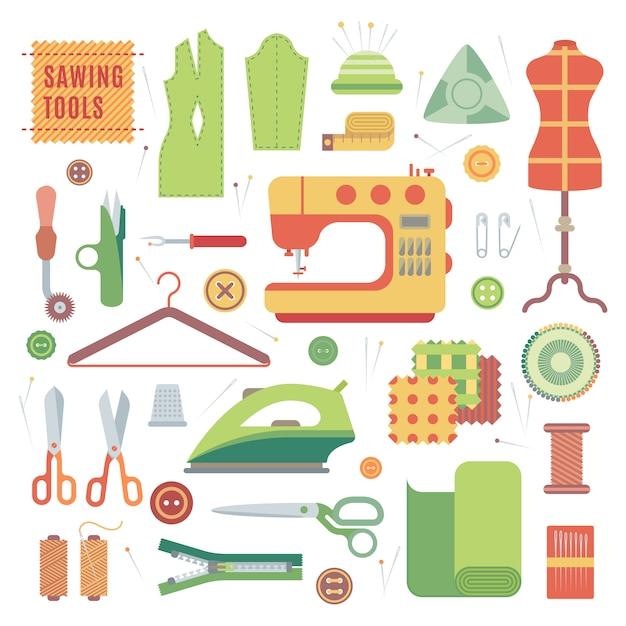 Set di accessori per macchine da cucire e fatti a mano con il vettore tessile accessori sartoria. Vettore Premium