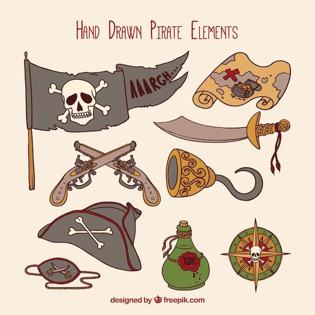Set di accessori pirata a mano Vettore gratuito