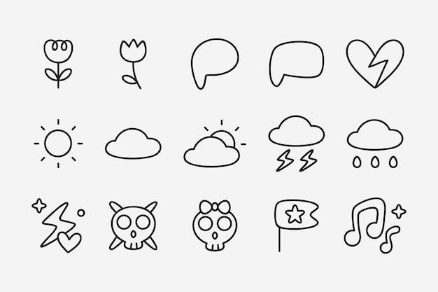 Set di adesivi adesivi doodle Vettore gratuito