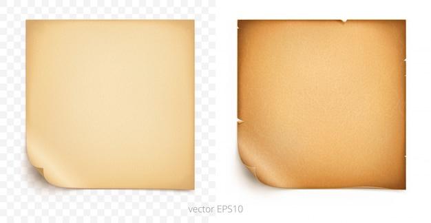 Set di adesivi adesivi quadrati con angoli piegati. vecchia carta vintage e pergamena ruvida. modello di alta qualità di etichette o tag. mockup vuoto con trame realistiche. ombre trasparenti. Vettore Premium