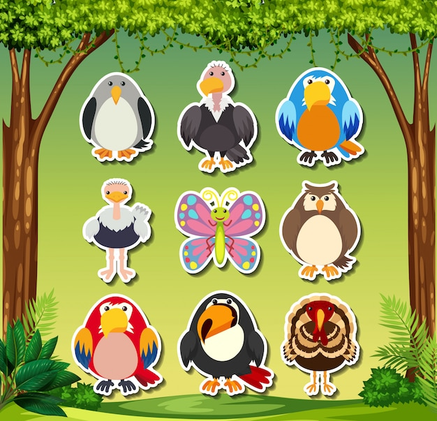 Set di adesivi animali Vettore gratuito
