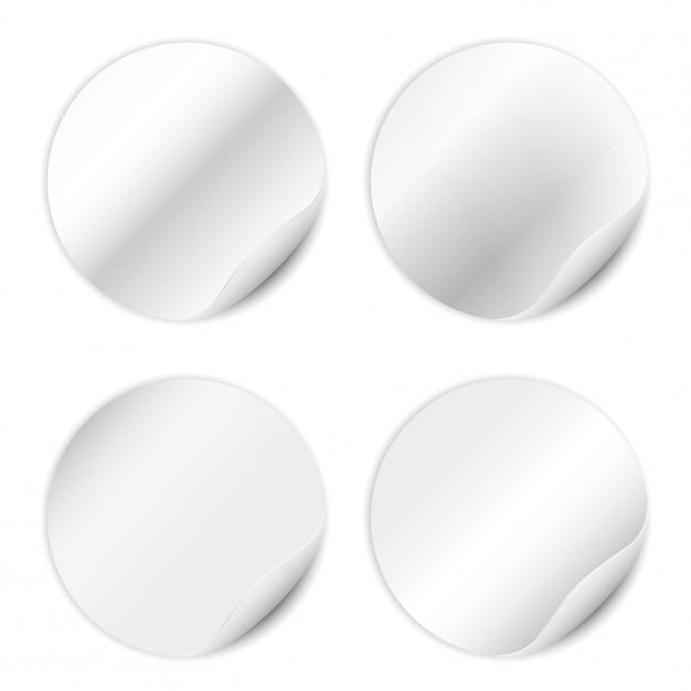 Set di adesivi bianco isolato su sfondo bianco. Vettore Premium