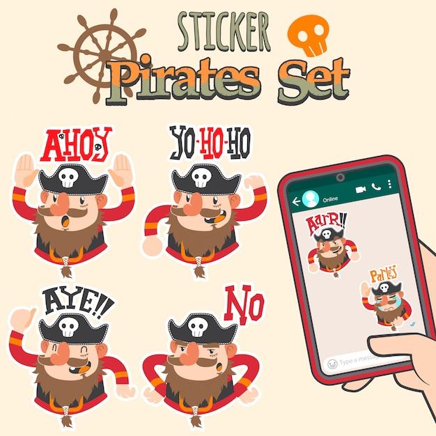 Set di adesivi cartoon carino pirati Vettore Premium