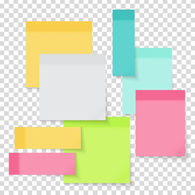 Set di adesivi colorati nota carta vuota Vettore Premium