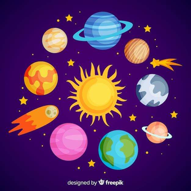 Set di adesivi colorati pianeti disegnati a mano Vettore gratuito