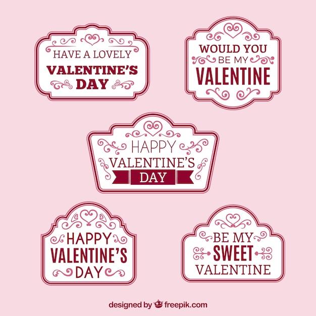 Set di adesivi con frasi d'amore Vettore gratuito