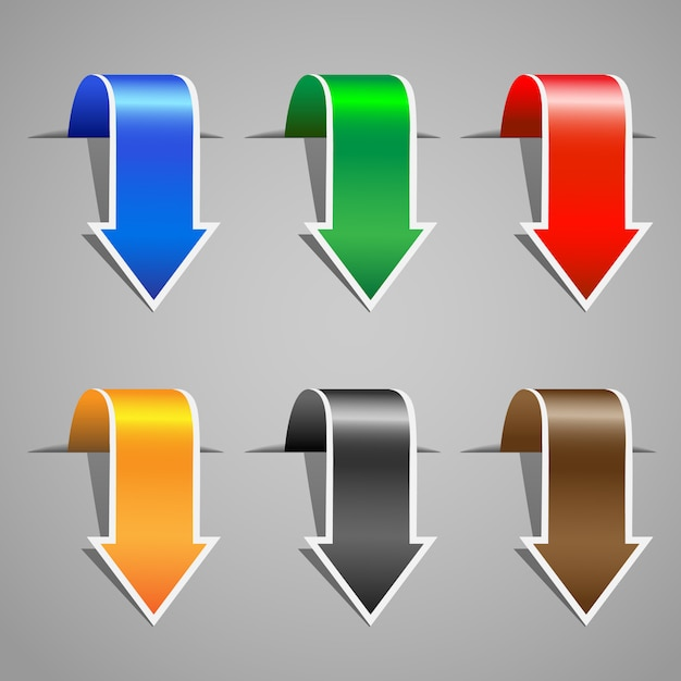 Set di adesivi con freccia Vettore Premium
