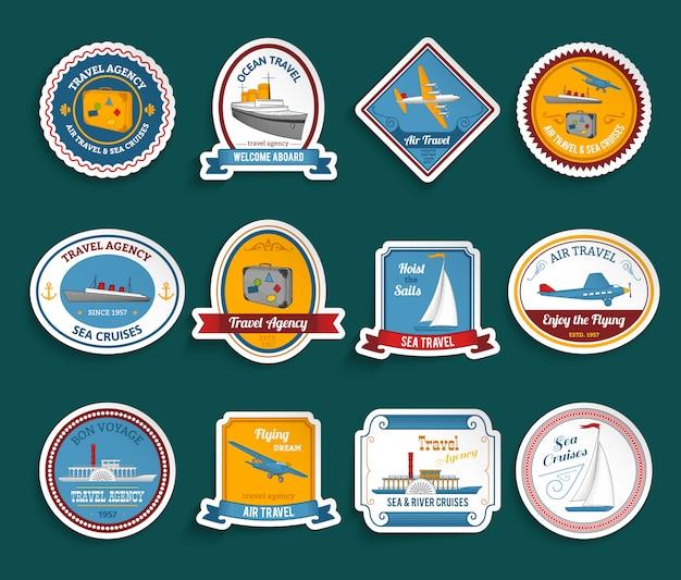 Set di adesivi dell'agenzia di viaggi cruise Vettore gratuito