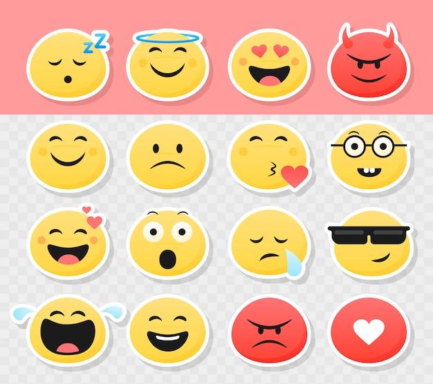 Set di adesivi di emoticon smiley carino Vettore Premium
