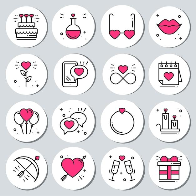 Set di adesivi di san valentino. badge di etichette. Vettore Premium