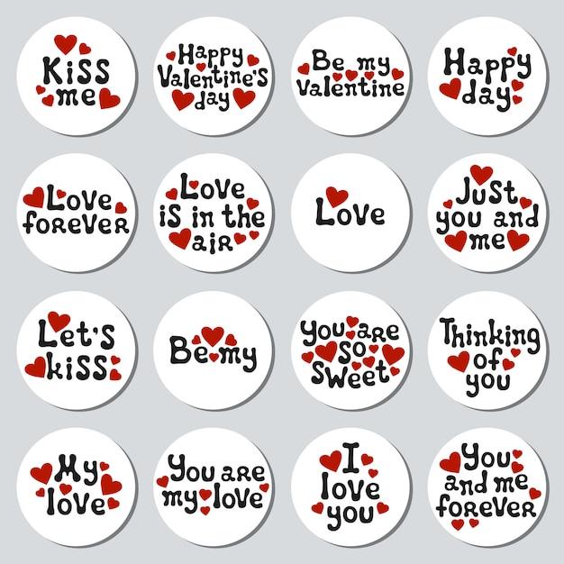 Set di adesivi di san valentino Vettore Premium