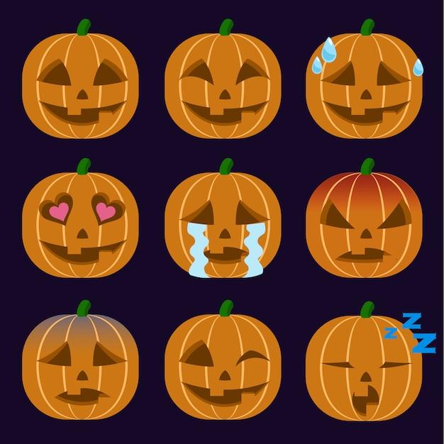 Set di adesivi emoticon jack-o-lantern isolato Vettore Premium