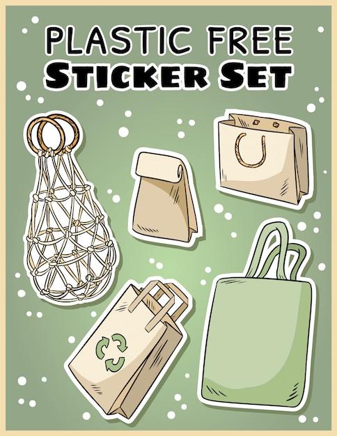 Set di adesivi in plastica. raccolta ecologica e senza sprechi di etichette. diventa verde Vettore Premium