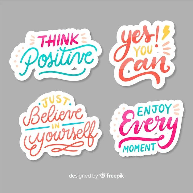 Set di adesivi lettering motivazionali Vettore gratuito