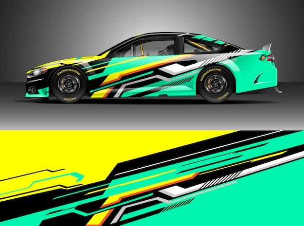 Set di adesivi per auto da corsa Vettore Premium