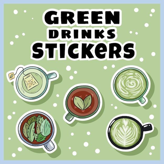 Set di adesivi per bevande verdi. tazze di tè verde e caffè insieme. tazze di stile del fumetto disegnato a mano Vettore Premium