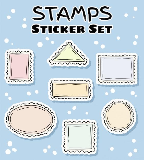 Set di adesivi per francobolli postali. collezione di etichette colorate Vettore Premium