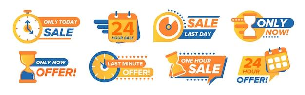 Set di adesivi per il conto alla rovescia di vendita Vettore gratuito