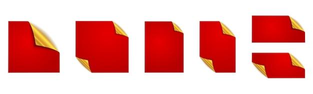 Set di adesivi rossi. adesivi quadrati rossi. mockup. Vettore Premium
